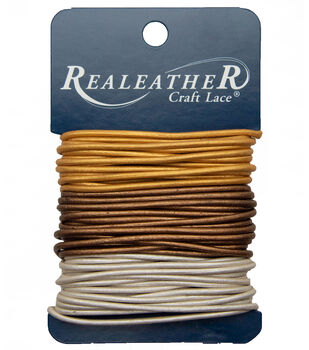 Round Leather Lace 2mm Carded 9yd-Gold, Silver and Bronze