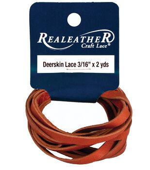 "Deerskin Lace 3/16"" Wide 2 Yards-Saddle Tan"