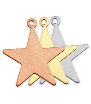 "Stamping Blank Star W/Ring 7/8"" 2/Pkg-Copper"