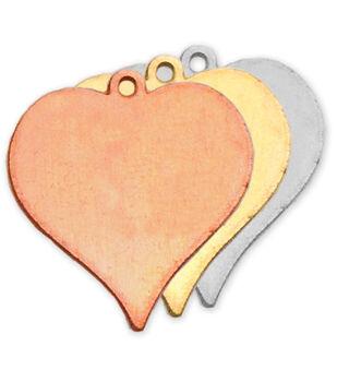 "Stamping Blank Heart W/Ring 7/8"" 2/Pkg-Nickel Silver"