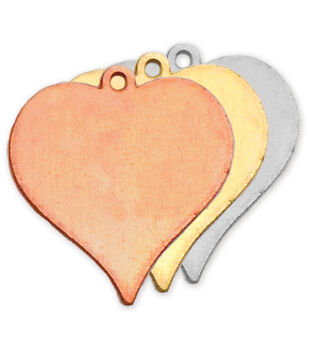 "Stamping Blank Heart W/Ring 7/8"" 2/Pkg-Brass"