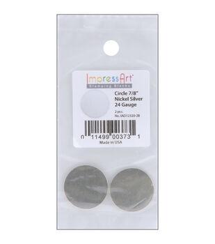 """Stamping Blank Circle 7/8"""" 2/Pkg-Nickel Silver"""
