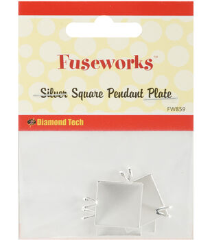 "Fuseworks Jewelry Findings-Silver Pendant Square 11/16"" 4/Pkg"