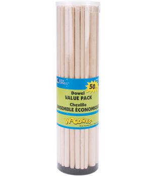 Loew-Cornell 12'' Craft Dowel Rods Value Pack-50PK