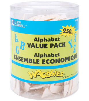 Loew-Cornell 1-9/16'' Wood Alphabet Value Tub-250PK