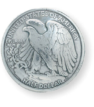 "Silver Finish Concho 1-3/16"" Screwback-Eagle Half Dollar"