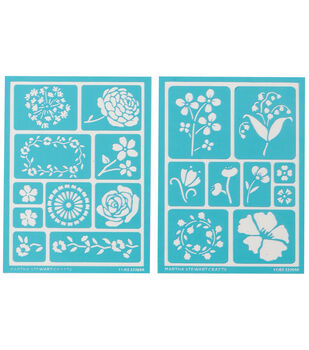 Martha Stewart Adhesive Stencils 2 Sheets/Pk-Blossoms