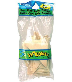 Jumbo Woodsies Variety Pack 30/Pkg-Stars/Hearts/Squares/Triangles