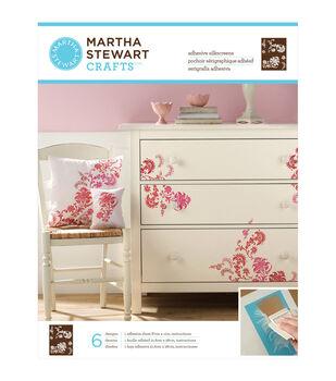 "Martha Stewart Adhesive Silkscreen 8-1/2""X11"" 1 Sheet/Pkg-Exotic Blossoms 8 Designs"