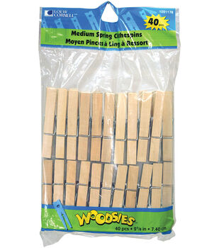 "Woodsies Medium Spring Clothespins-2-3/4"" 40/Pkg"