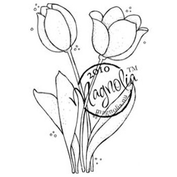 Magnolia Hoppy Easter Cling Stamp Two Tulips