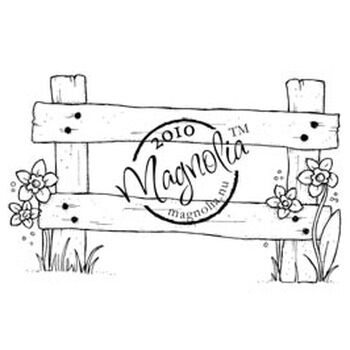 Magnolia Hoppy Easter Cling Stamp Spring Fence
