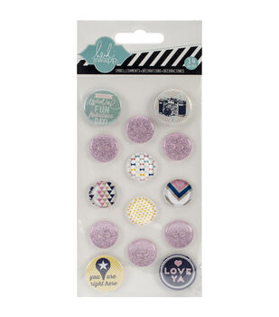 Hello Today Flair Embellishments 14/Pkg-Tin Badges, Glitter Buttons, Gem Accents