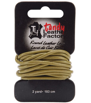 Round Leather Lace 2mm Wide Carded 2 Yards-Olive