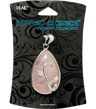 Plaid Inspired Classic Pendant 1/Pkg-Rose Quartz Teardrop