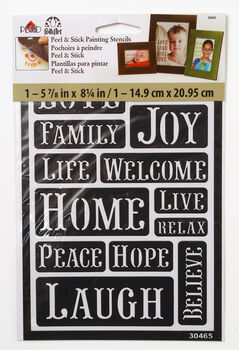 FolkArt ® Peel & Stick Painting Stencils™ - Happy Words