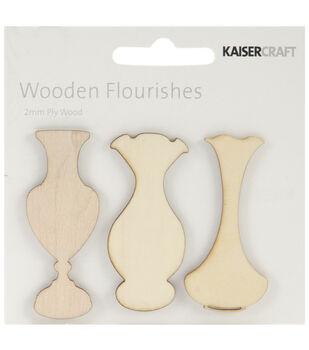 Wood Flourishes-Vases 3/Pkg