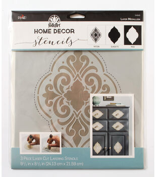 "FolkArt Home Decor Masking Stencils 3/pk 9.5""x8.5""-Medallion"