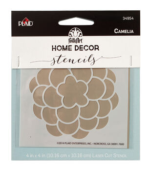 "FolkArt Home Decor Stencil 4""x4""-Camelia"