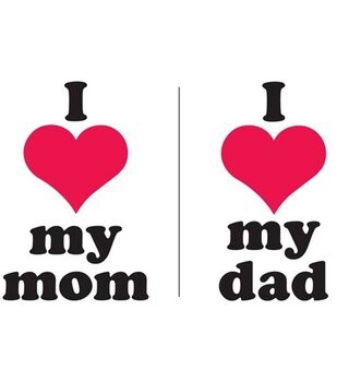 Uptown Baby Color Transfer Iron-Ons-I Heart My Mom And I Heart My Dad