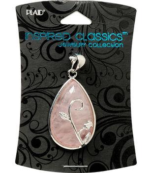 Plaid Inspired Classic Pendant 1/Pkg-Rose Quartz Teardrop