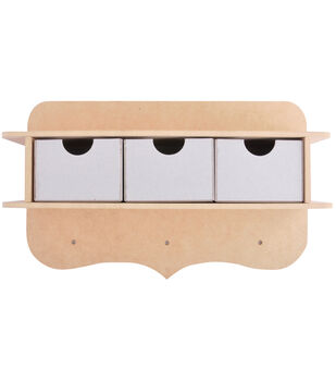 Kaisercraft Beyond The Page MDF 3-Peg Shelf With 3 Chipboard Drawers