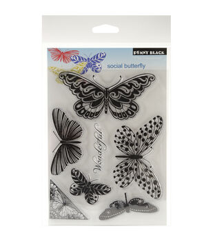 """Penny Black Clear Stamps 5""""X7.5"""" Sheet-Social Butterfly"""