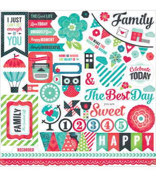 """We Are Family Cardstock Stickers 12""""X12""""-Element"""