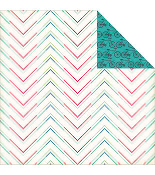 """We Are Family Double-Sided Cardstock 12""""X12""""-Dotted Chevron"""