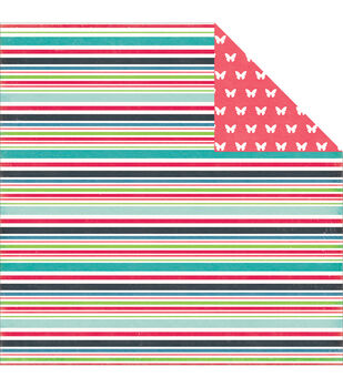 """We Are Family Double-Sided Cardstock 12""""X12""""-Family Stripe"""