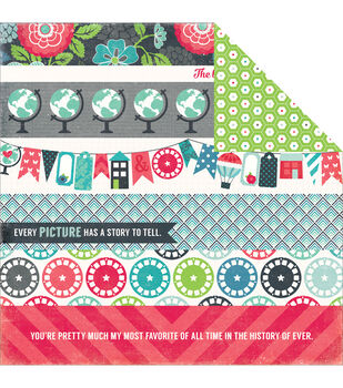 """We Are Family Double-Sided Cardstock 12""""X12""""-Border Strips"""