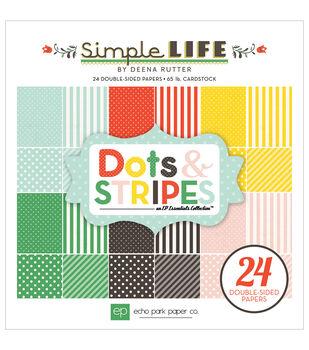 """Echo Park Paper Pad 6""""X6"""" 24/Pkg-Simple Life Dots & Stripes"""