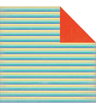 "Walking On Sunshine Double-Sided Cardstock 12""X12""-Beach Stripe"