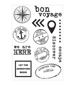 """Wanderlust Clear Stamps 6.25""""X4""""-"""
