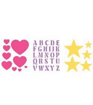 Simply Stencils Stencils 8''X10''-Heart/Alpha/Stars