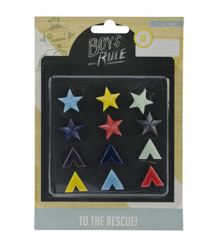 Boys Rule Resin Shapes 12/Pkg-
