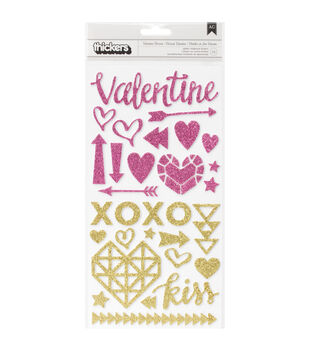 "Kiss Kiss Thickers Accent Stickers 5.5""X11"" 2/Sheets-Valentine/Gold & Pink Glitter"