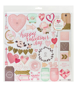 "Kiss Kiss Chipboard Stickers 12""X12""-Accents"