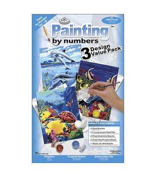 1-1/2''x8-3/4'' Paint By Number Value Packs-3PK/Sea Life