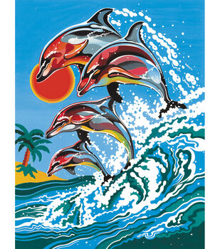 """Medium Paint By Number Kits 9""""X12""""-Dolphins"""