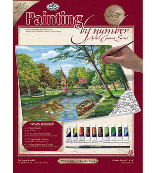 11''x14'' Paint By Number Kit-Church By The River