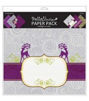 "Bella! Boutique Christmas Paper Pack 12""X12""-12 Sheets-6 Designs/2 Each"