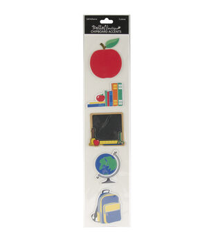 Bella! Boutique Self-Adhesive Chipboard Accents 5/Pkg-School Days