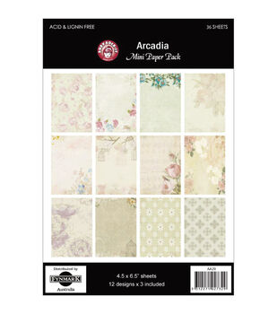 "Arcadia Mini Paper Pack 4.5""X6.5"" 36 Sheets-12 Designs/3 Each"