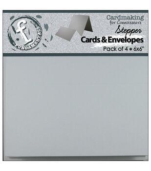 """Stepper Cards & Envelopes 6""""X6"""" 4/Pkg-White"""