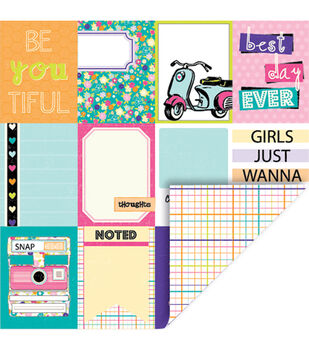 Queen  & Co Girl Journal Cards Grid Double-Sided Cardstock 12''x12''