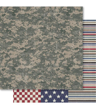 Ruby Rock-It Military Camouflage Double-Sided Cardstock