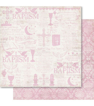 Ruby Rock-It Christening Girl Double-Sided Cardstock