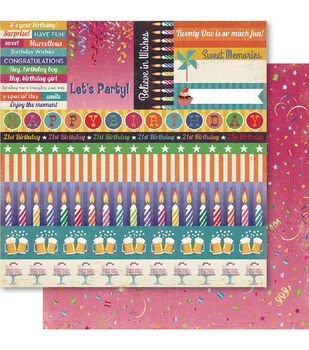 Ruby Rock-It 21st Cut-Outs Double-Sided Cardstock