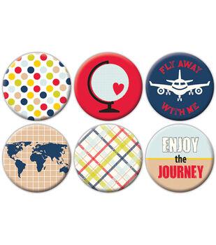 Travel Flair Self-Adhesive Tin Badges 6/Pkg-